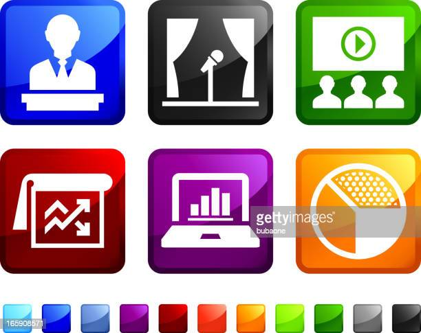 Business Presentation Charts and Diagrams vector icon set stickers