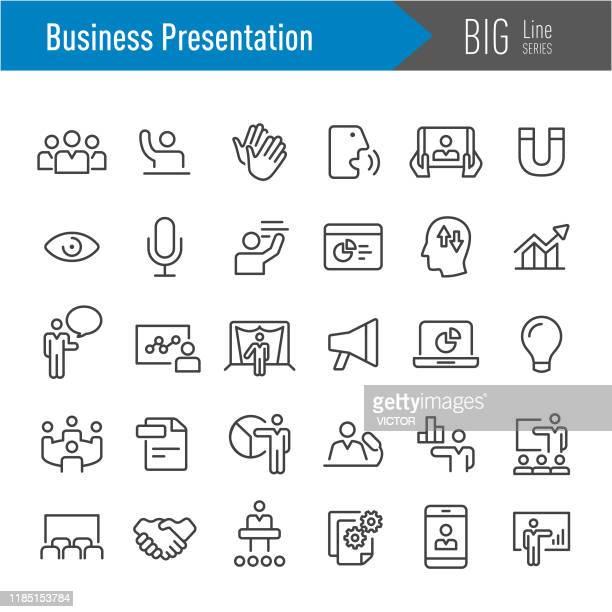 business presentation icons - big line series - internet konferenz stock-grafiken, -clipart, -cartoons und -symbole