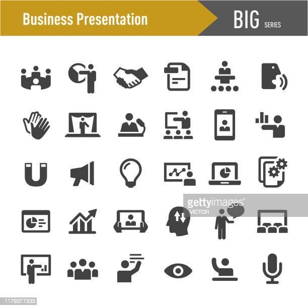 business presentation icons - große serie - internet konferenz stock-grafiken, -clipart, -cartoons und -symbole