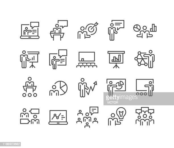 business presentation icons - classic line series - showing stock illustrations