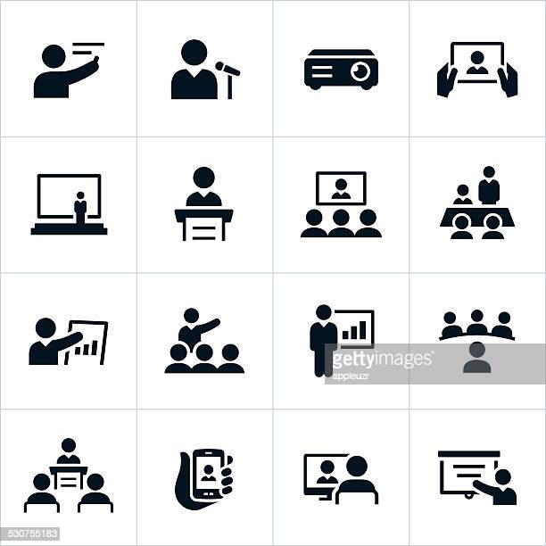 business presentation icons - video conference stock illustrations
