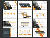 Business presentation infographic elements template set, annual report corporate horizontal