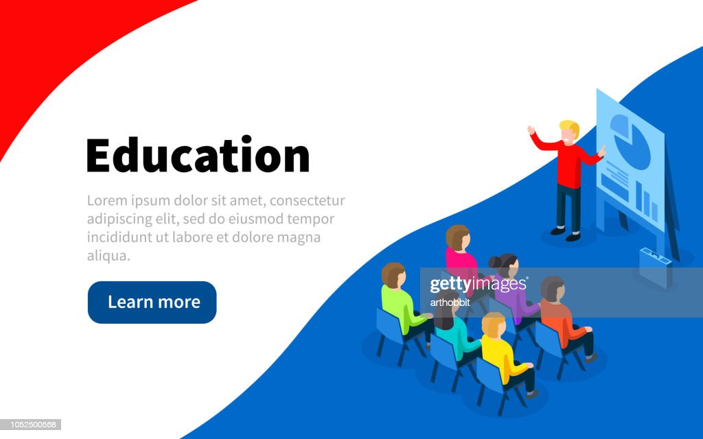 Business presentation. Isometric financial presentation or business conference. Web Page template.