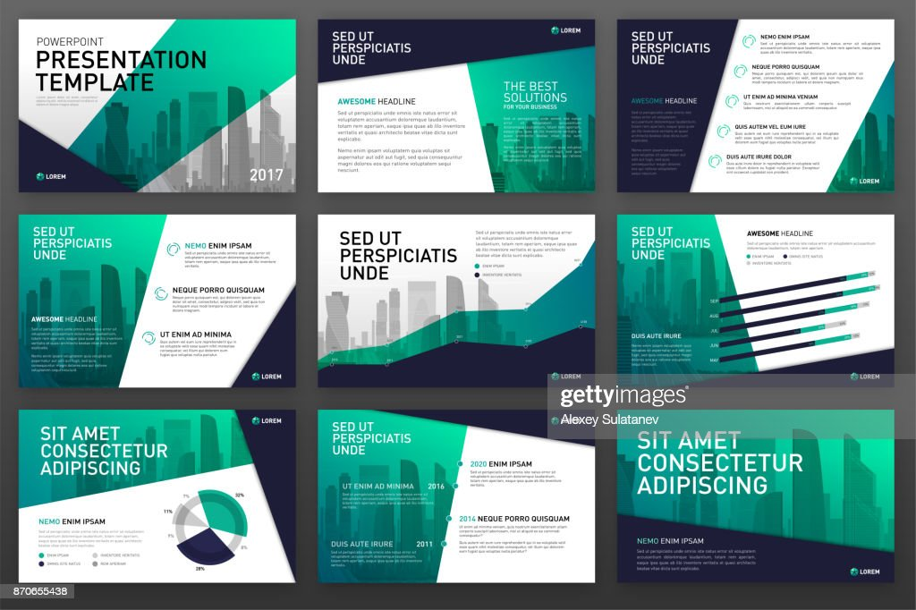 Business presentation templates with infographic elements