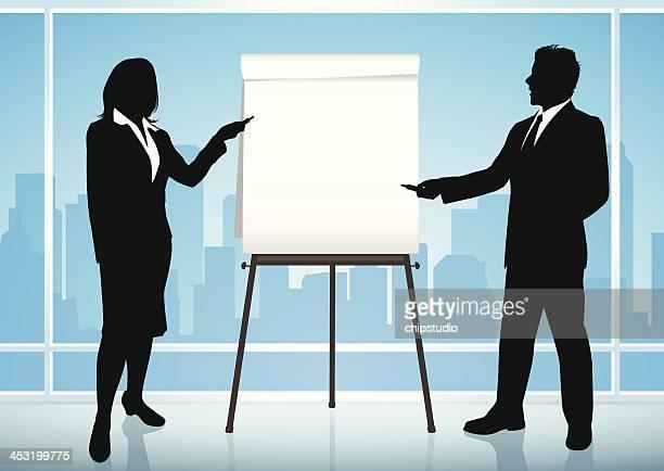 illustrazioni stock, clip art, cartoni animati e icone di tendenza di presentazione d'affari - mostrare