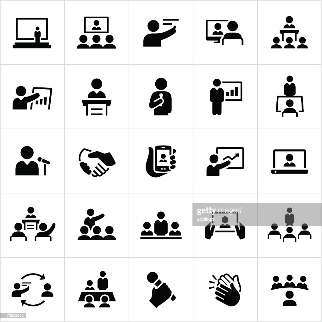 Business Presentations and Meetings Icons : stock illustration