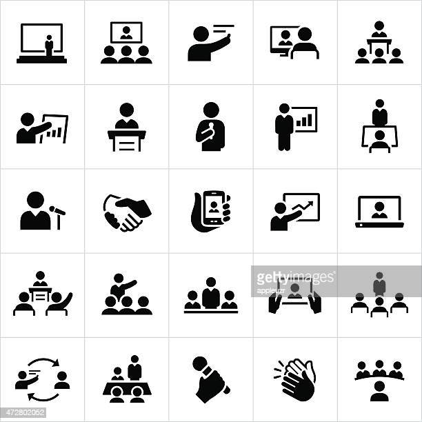business presentations and meetings icons - video conference stock illustrations