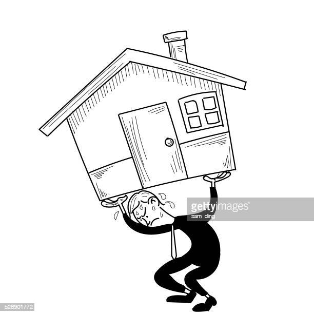 business, pressure, mortgage, real estate, lifts - bending over stock illustrations, clip art, cartoons, & icons