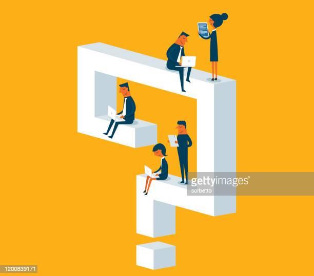 ilustrações, clipart, desenhos animados e ícones de problemas de negócios - q and a