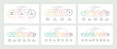 Business process. Timelines with 3, 4, 5, 6, 7, 8 options, circles. Vector templates.