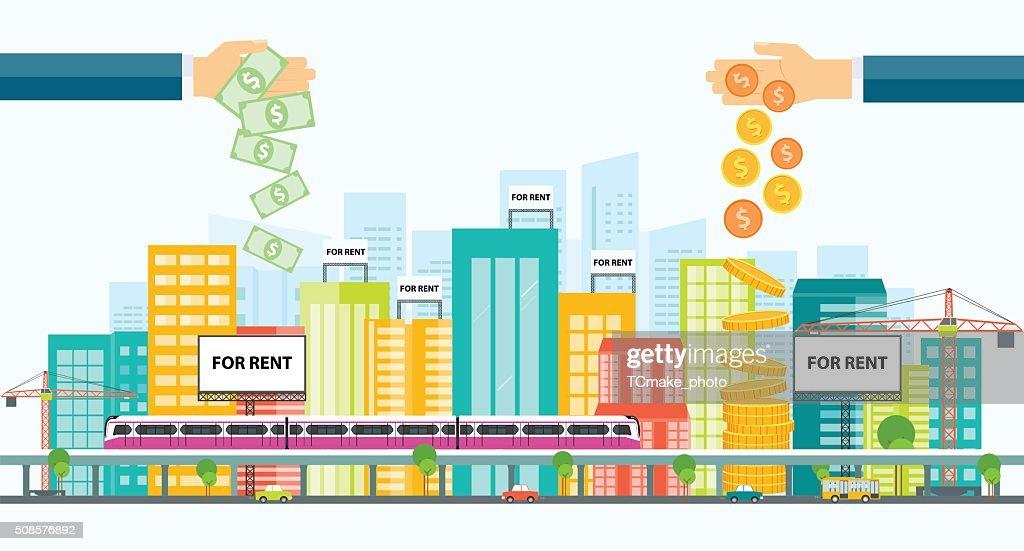 Geschäft Hotel Investitionen .Real Immobilien Investitionen. : Vektorgrafik