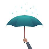 Business protection concept. Businessman hand holding umbrella under dripping rain vector illustration.