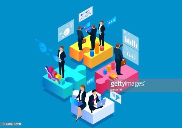 ビジネスパズルとチームワーク - 合併点のイラスト素材/クリップアート素材/マンガ素材/アイコン素材
