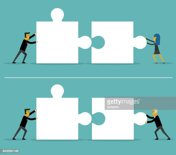 business puzzle pieces - jigsaw piece stock illustrations, clip art, cartoons, & icons