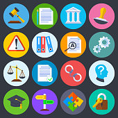 Business regulation, legal compliance and copyright vector flat icons