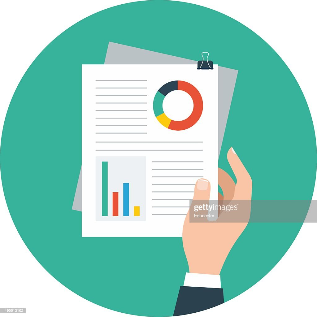Business Reports Colored Vector Illustration