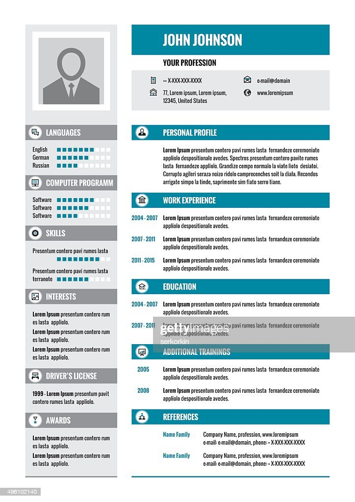 Business resume - CV - vector layout in A4 format.