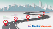 Business road map city timeline infographic, Vector Illustration