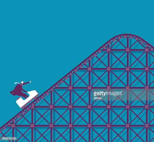 business roller coaster - carnival ride stock illustrations, clip art, cartoons, & icons