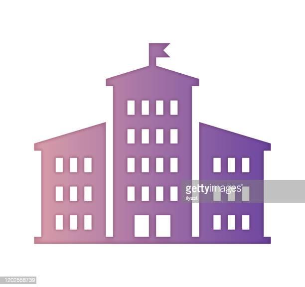 ビジネススクールのグラデーションカラー&ペーパーカットスタイルのアイコンデザイン - 大学点のイラスト素材/クリップアート素材/マンガ素材/アイコン素材