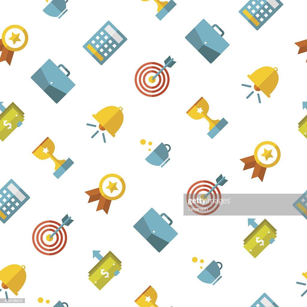 Business seamless pattern, flat style