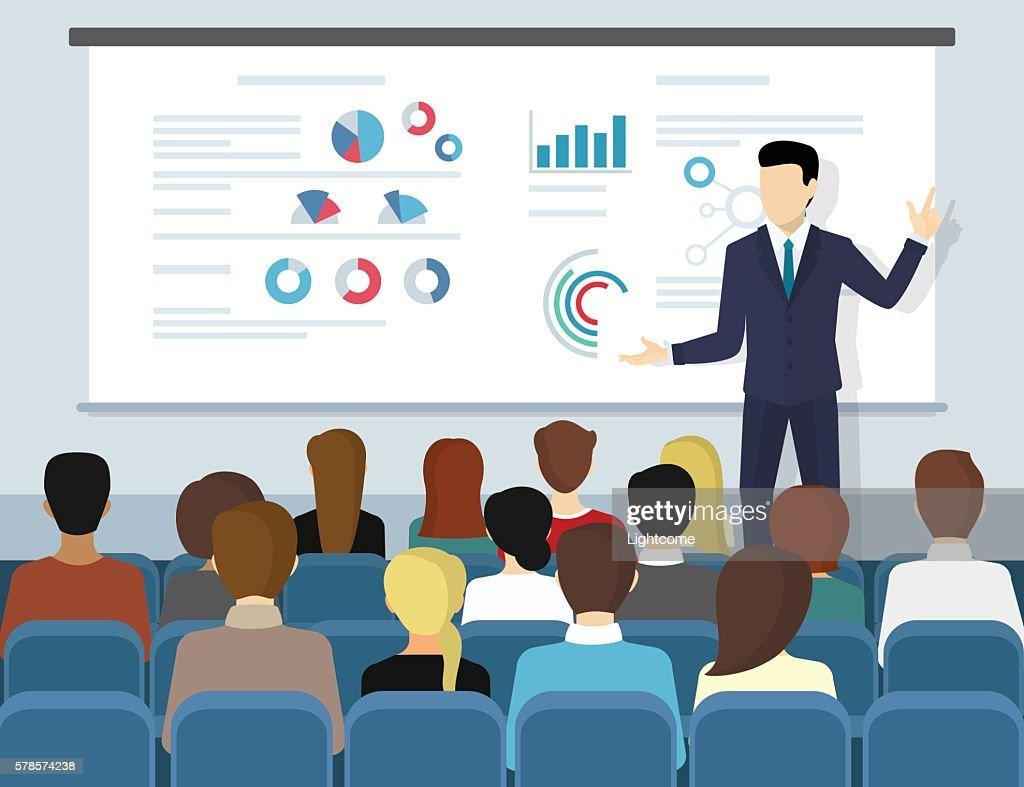 Business seminar speaker doing presentation and professional training