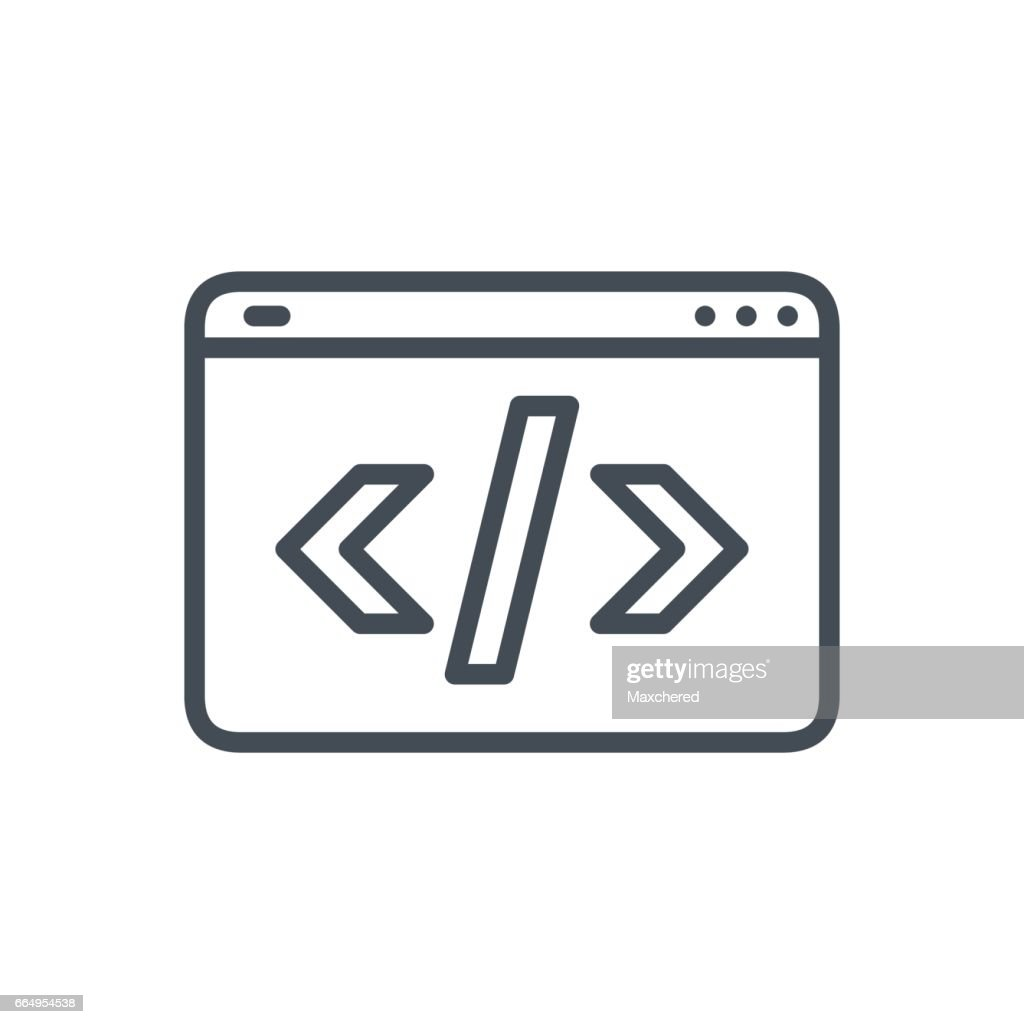 Business SEO Line icon Web HTML Code
