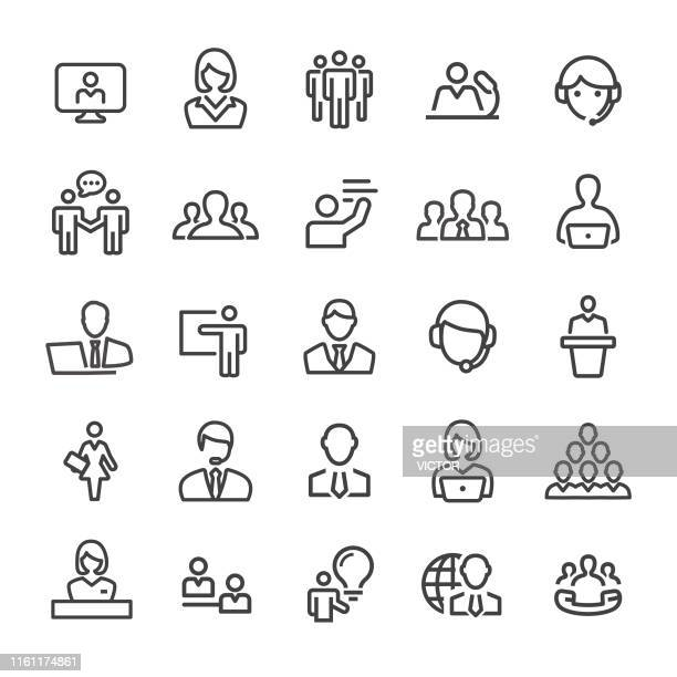 business service icons - smart line serie - publikum stock-grafiken, -clipart, -cartoons und -symbole