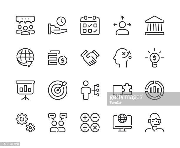 business - set 1 line icons - cash management stock illustrations, clip art, cartoons, & icons