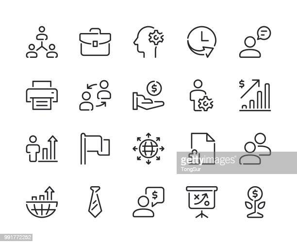 business - set 2 line icons - online advertising stock illustrations, clip art, cartoons, & icons