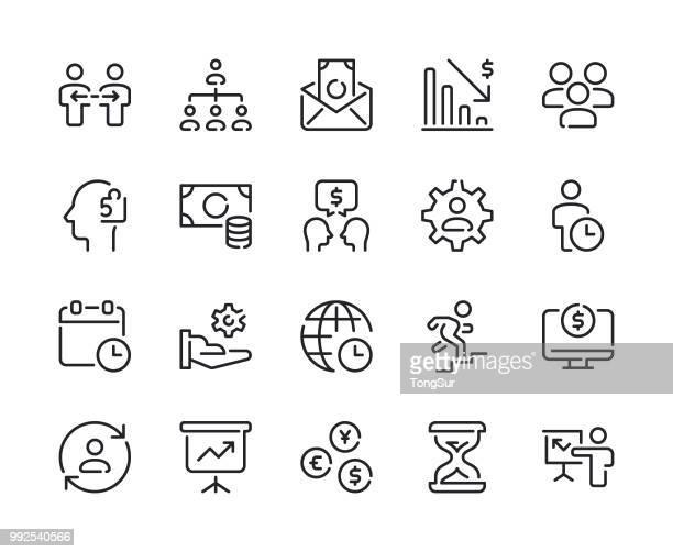 business - set 3 line icons - cash management stock illustrations, clip art, cartoons, & icons