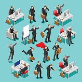 Business Set Isometric People