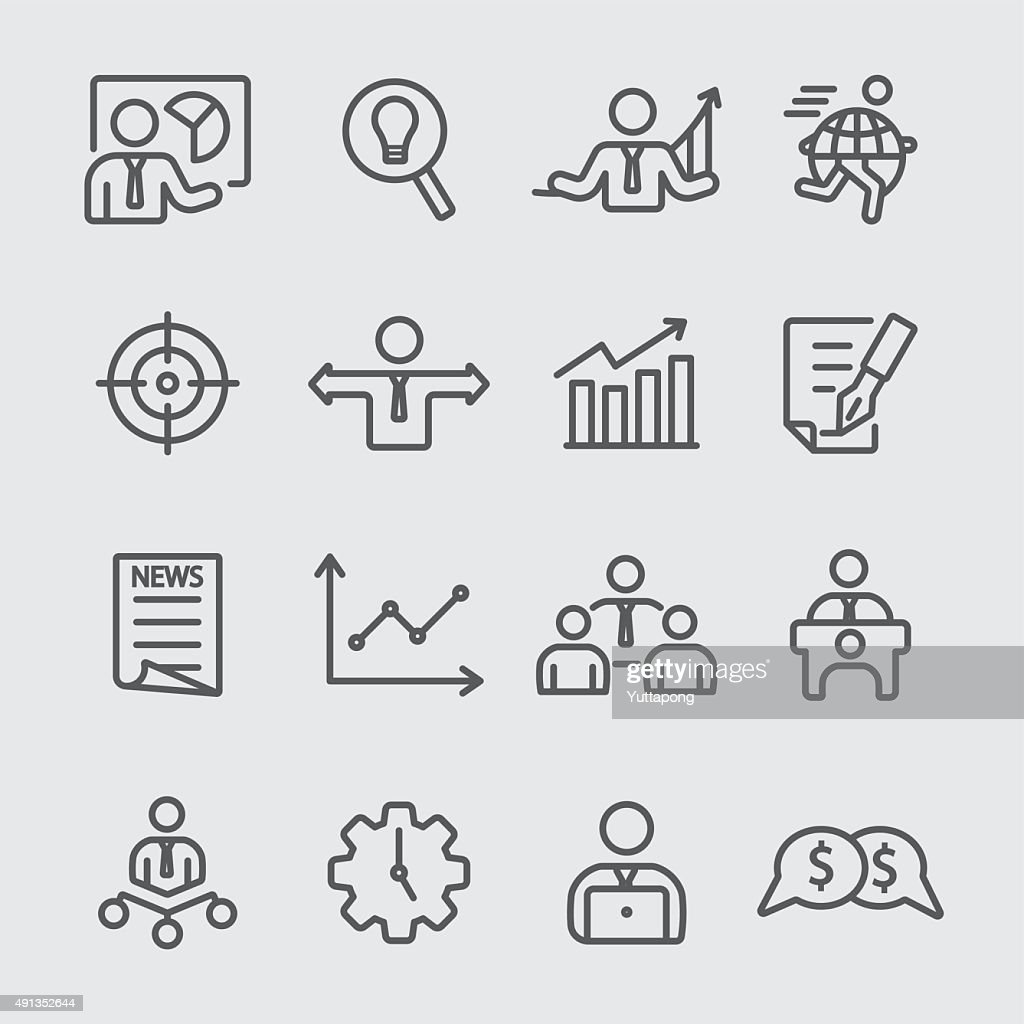 Business set line icon