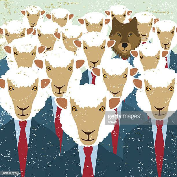 business sheep wolf intruder spy undercover agent danger threat - sheep stock illustrations, clip art, cartoons, & icons
