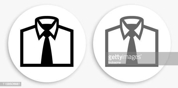 illustrations, cliparts, dessins animés et icônes de chemise d'affaires icône ronde noire et blanche - cravate