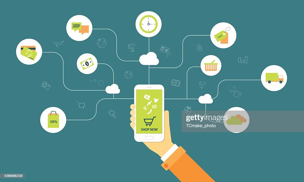 business shopping on line on cloud mobile concept