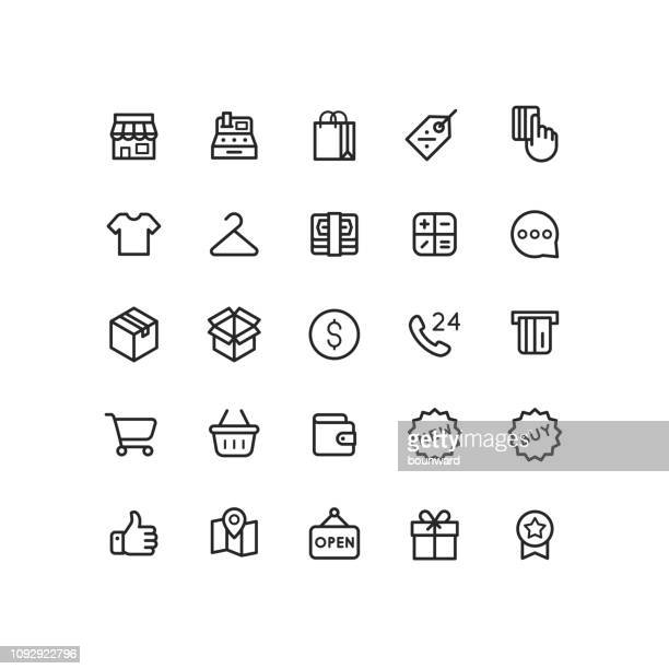 business & shopping outline icons - new stock illustrations