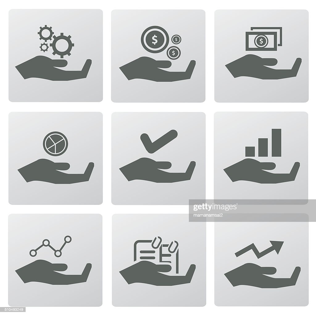 Business sign on hand,business concept icons,vector