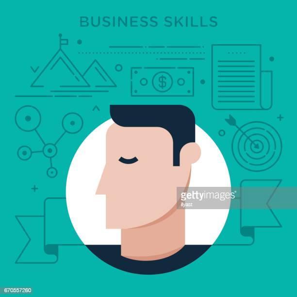 ilustrações, clipart, desenhos animados e ícones de habilidades de negócios - perfil vista lateral