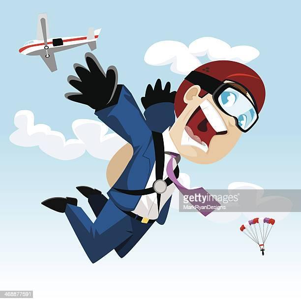 illustrations, cliparts, dessins animés et icônes de skydiver d'affaires - saut en parachute