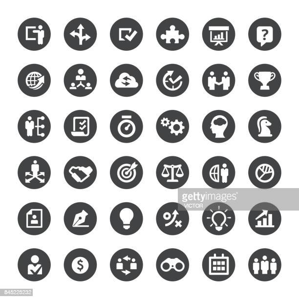 business solution and strategy vector icons - conspiracy stock illustrations, clip art, cartoons, & icons