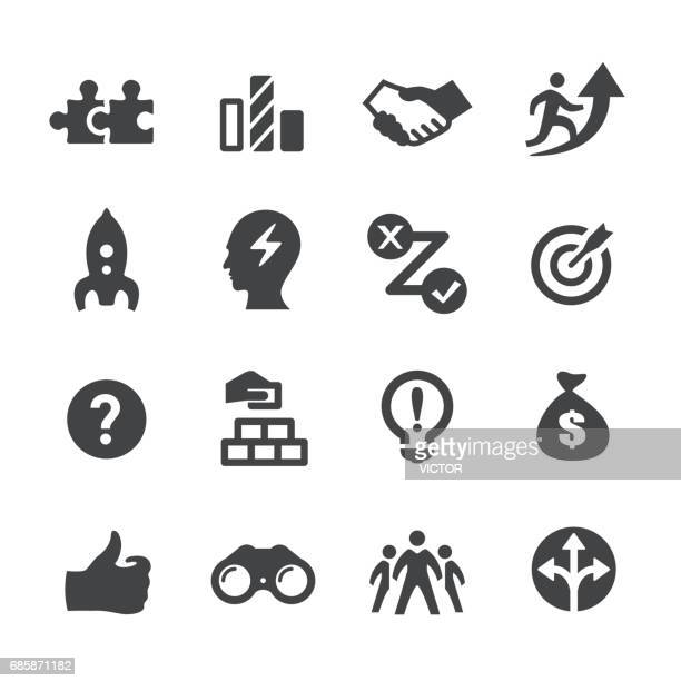 business solution icon - acme series - conspiracy stock illustrations, clip art, cartoons, & icons