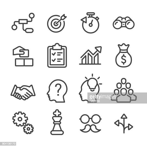 business solution icon - line series - contemplation stock illustrations, clip art, cartoons, & icons