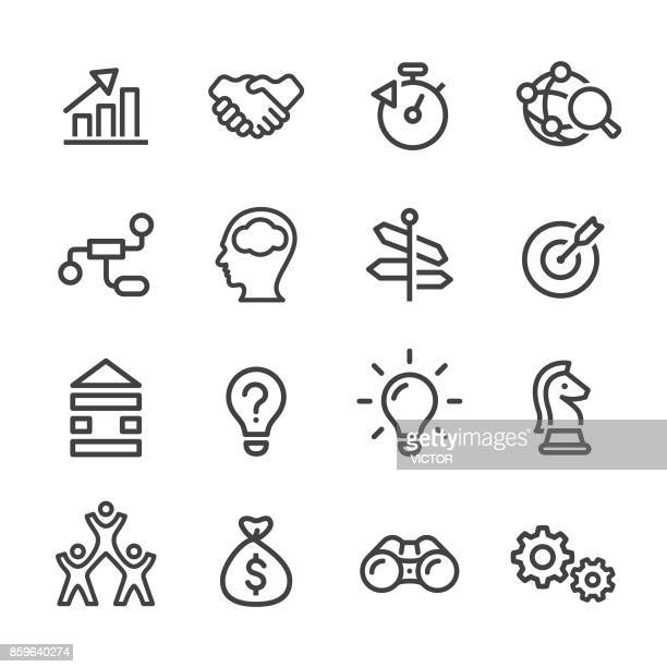 business solution icons - line series - group of objects stock illustrations