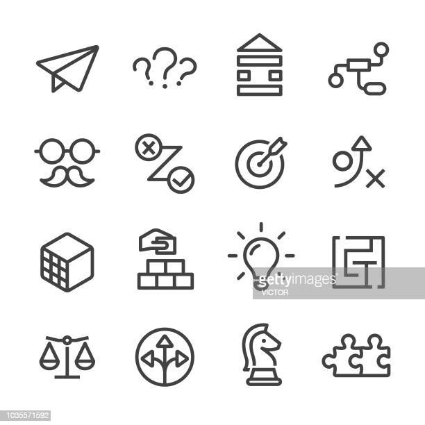 business solution icons set - line series - bloco stock illustrations