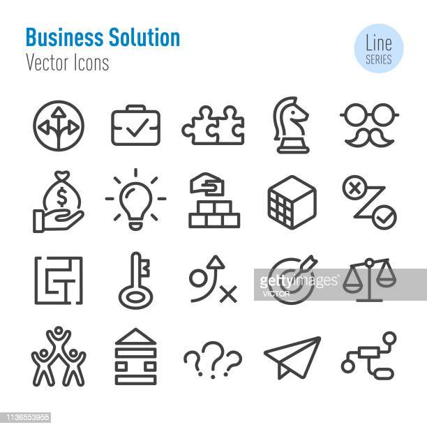 business solution icons set - vector line series - building block stock illustrations