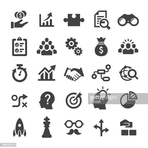 business solution icons - smart series - icon set stock illustrations