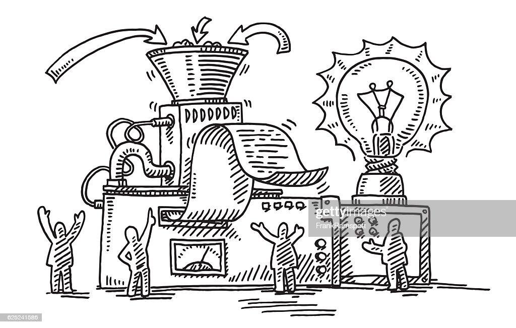 Business Solution Machine Light Bulb Drawing : stock illustration