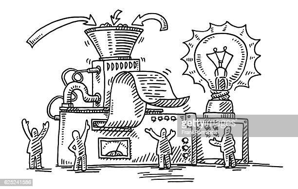 Business Solution Machine Light Bulb Drawing