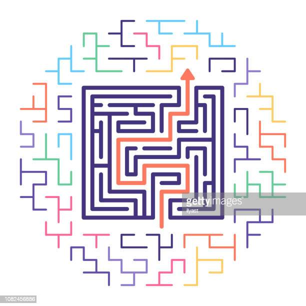 business solutions line icon illustration - maze stock illustrations